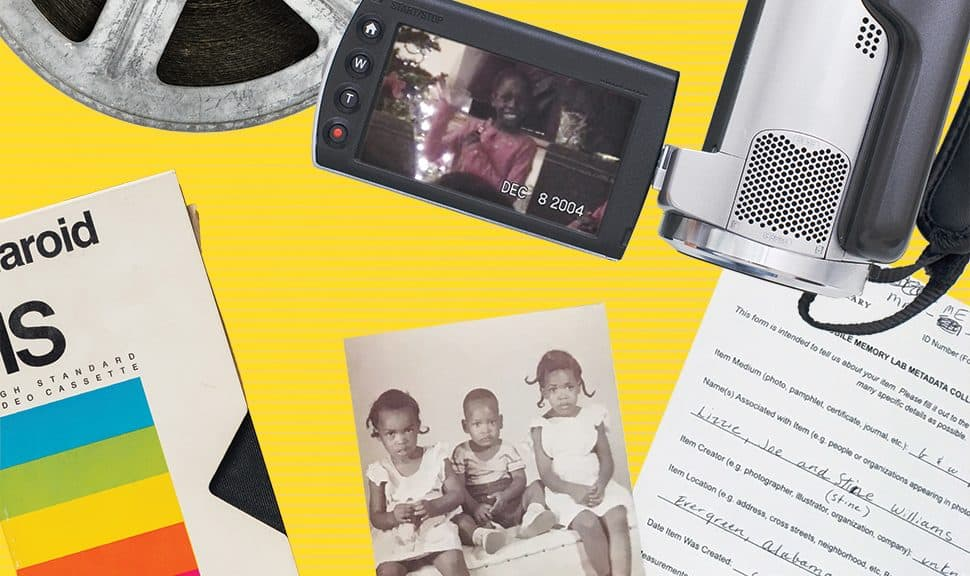 Above, a Congolese immigrant waves to the camera in a screenshot from a home movie archived by Home Made Visible. Below, metadata is collected for a photo submitted to Los Angeles Public Library's Mobile Memory Lab. Screenshot: Home Made Visible; Photo: Los Angeles Public Library