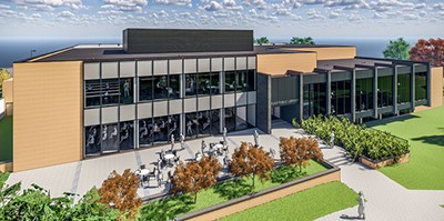 Artist's rendering of renovated Flint (Mich.) Public Library