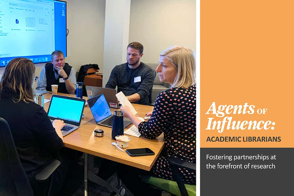 From left: Catherine Morse, Joe Bauer, Matt Carruthers, and Sara Hughes at a research sprint held in October 2019 in partnership with University of Michigan Library. The group worked on developing a data management system for information on public drinking water.