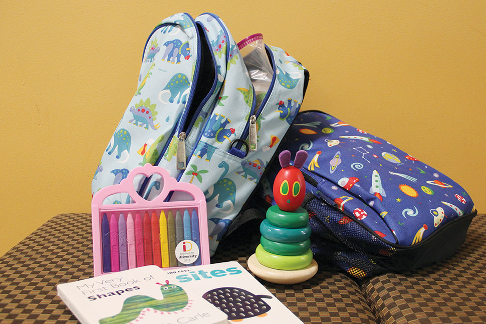 """Family kits""—children's backpacks filled with age-appropriate activities—are available for checkout at University of Maryland Libraries. (Photo: University of Maryland)"