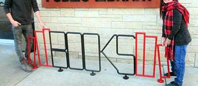 Wood River (Ill.) Public Library's new bicycle rack. Photo by Dylan Suttles / The Telegraph