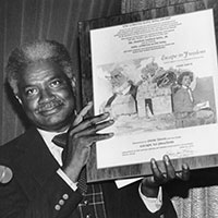 Actor and author Ossie Davis accepts the 1979 award for <em>Escape to Freedom.</em> Photo: ALA Archives