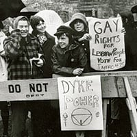 New York Public Library commemorated Stonewall's legacy with historic photos such as this 1973 image from noted photojournalist Diana Davies. Photo: New York Public Library, Manuscripts and Archives Division