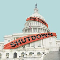 "Illustration: Capitol Building in Washington, D.C., with red tape reading ""shutdown"" stretched across the front"