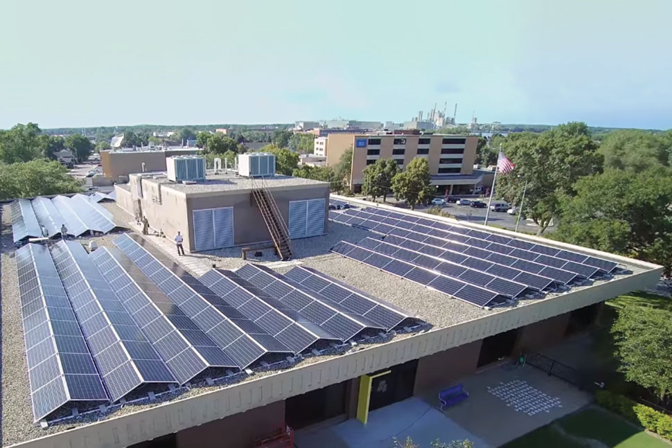 Solar panels on the roof of McMillan Memorial Library in Wisconsin Rapids, Wisconsin. Photo: McMillan Memorial Library in Wisconsin Rapids, Wisconsin