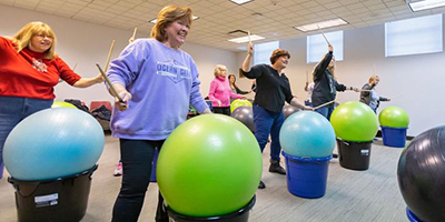Cardio drumming was a big hit at Willoughby (Ohio) Library on January 18. Photo by Carrie Garland / News-Herald