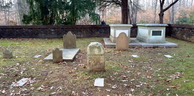 The Mason Family Cemetery at Gunston Hall in Lorton, Virginia. Along with members of the Mason family, the site includes dozens of graves of unidentified individuals, located using remote sensing technology and marked as part of an Eagle Scout project, according to a docent tour, December 28, 2019. Photo by Suzanne LaPierre