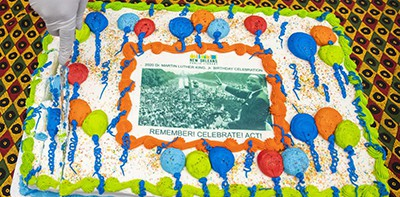 Dr. Martin Luther King Jr. birthday cake, New Orleans Public Library. Photo by Sophia Germer / New Orleans Times-Piacyune