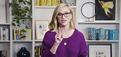 Reese Witherspoon. Screenshot from librarian-in-residence announcement