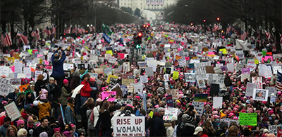 The original, unaltered photo of the 2017 Women's March in the District. An altered version appears in an exhibit at the National Archives. Photo by Mario Tama / Getty Images)