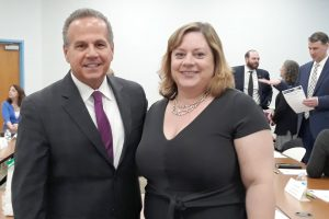 US Rep. David Cicilline (D-R.I., left) and Julie Holden, president of the Rhode Island Library Association