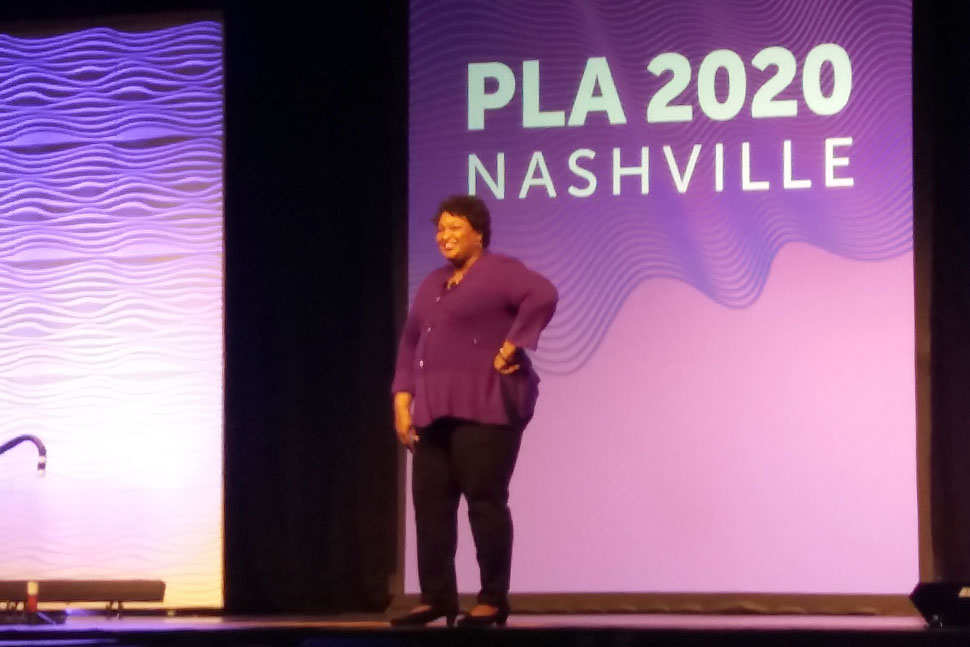 Opening Session speaker Stacey Abrams on stage at the 2020 Public Library Association Conference in Nashville on February 26.