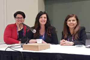 From left: Jillian Rael, Sharon Kay Edwards, and Patricia Rua-Bashir at the Public Library Association 2020 Conference in Nashville on February 25.