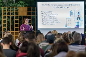 Speaking at Trexler Library, Chrysan Cronin, assistant professor and director of public health at Muhlenberg College in Allentown, Pennsylvania, discusses the dangers of vaping. Photo: Photo: Paul Pearson/Muhlenberg College in Allentown, Pennsylvania