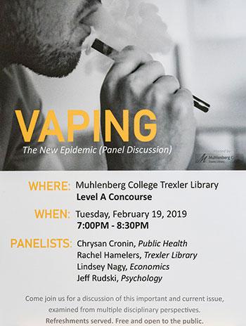 Poster advertising the vaping program at Muhlenberg College's Trexler Library.