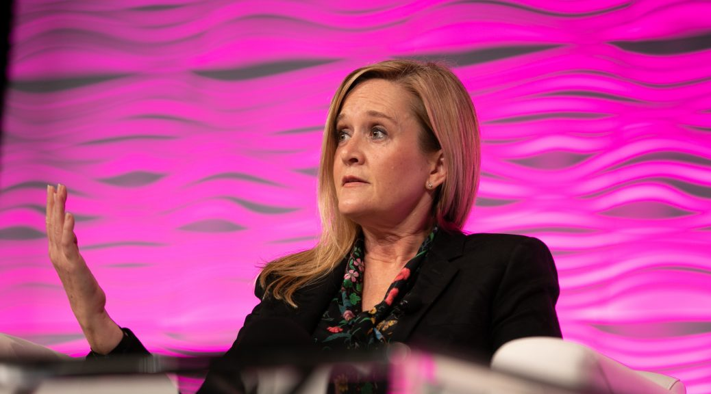 Samantha Bee speaks at the Closing Session of the Public Library Association 2020 Conference in Nashville February 29. Photo: Laura Kinser/Kinser Studios