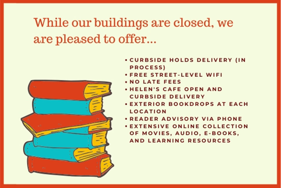 Tom Green County Library System in San Angelo, Texas, is closed to walk-ins but offering curbside checkout services, as explained by this image from their website.