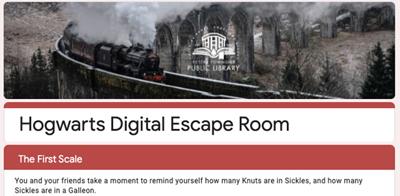 Coeur d'Alene (Idaho) Public Library's Harry Potter-themed escape room