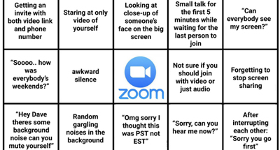 Zoom bingo, courtesy of The Basis Point