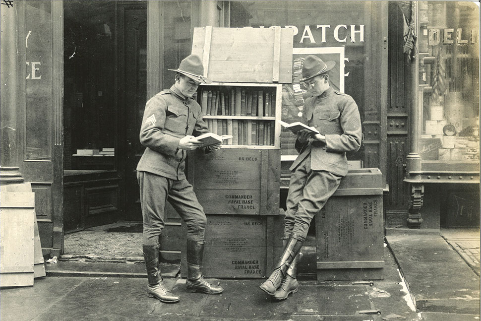 American soldiers in Paris just after the armistice of World War I. The American Library in Paris was a continuation of the work of the Library War Service, which ALA created in 1917 to supply reading materials to US servicemembers stationed in Europe during the war.