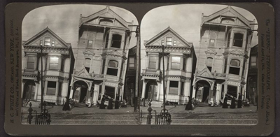 After the earthquake – frame houses tumbled from their foundations, San Francisco Disaster, U.S.A. Stereograph copyrighted by H.C. White Co., July 29, 1907
