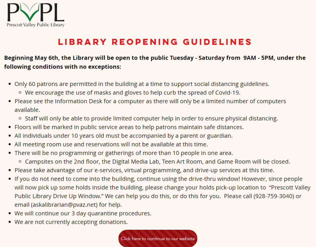 Screenshot of Prescott Valley Public Library's reopening guidelines, which were posted as a splash screen on its website that patrons had to click through to get to the main site.
