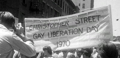 Christopher Street Liberation Day sign. Screenshot from a 1970 documentary by Lilli Vincenz