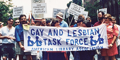 The ALA Gay and Lesbian Task Force ­marching in the 1992 San Francisco Pride parade