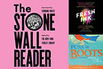 Covers for the audiobooks of The Stonewall Reader, Fresh Ink, and Puss in Boots