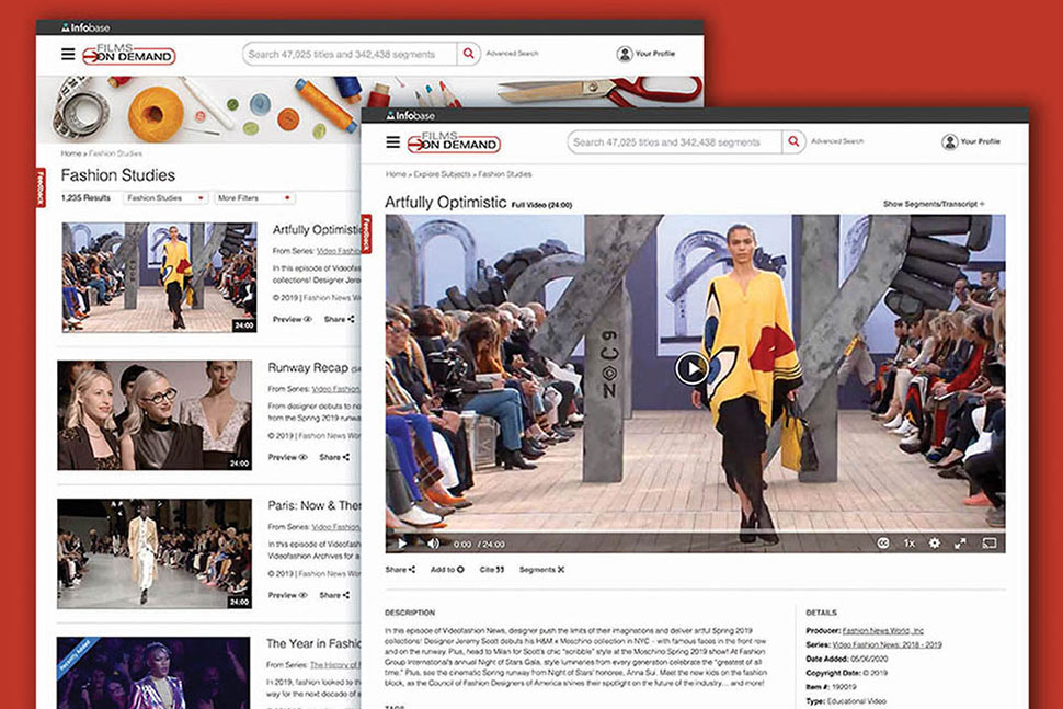 Infobase's Films on Demand fashion studies streaming video collection includes more than 1,300 titles.