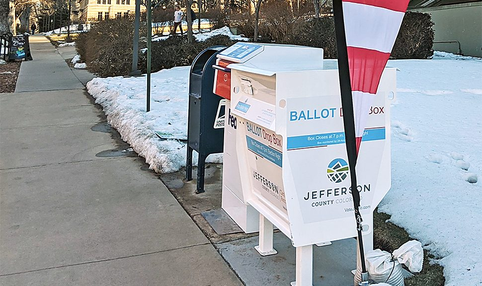 A ballot drop box outside the Arthur Lakes Library in Colorado School of Mines in Golden.