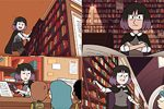 "Four images of The Librarian from Netflix's ""Hilda"""