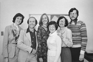 Art Plotnik (second from left) with the staff of American Libraries, circa 1978: Sue Cherry, Edith McCormick, Constance Pacholski, Lois Pearson, and Arian Bushman. (Photo: Arthur Plotnik Photographs, 1969-1992/American Library Association Archives)