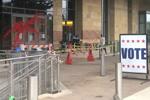 Vandalism at Austin (Tex.) Public Library (Photo: Julie Kram/KXAN)