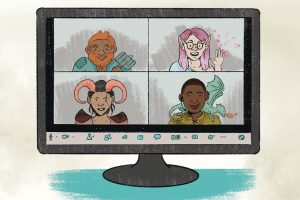Illustration: Screenshot of gamers in costume playing Dungeons and Dragons (Illustration: Katie Wheeler)
