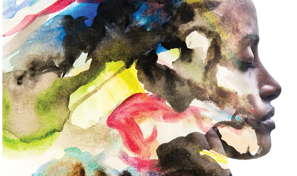 Watercolor image of a Black woman's face surrounded by swirls of color (Photo illustration: ©Victor Tongdee/Adobe Stock)