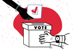 Hands and ballot box (Illustration: ©artflare/Adobe Stock)