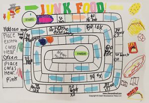 "A board game about junk food was one of 150 games created at ""Play in the Making,"" a study and program conducted by Arizona State University professor Elisabeth Gee and Phoenix Public Library. <span class=""credit"">Photo"" Luis Pérez Cortés</span>"