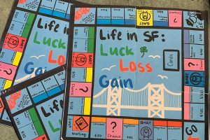 Teens at San Francisco Public Library created Life in SF: Luck, Loss, Gain, a board game that explores inequity in their city. Photo: Dorcas Wong/San Francisco Public Library