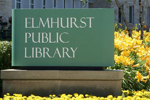 Elmhurst (Ill.) Public Library sign (photo from library's Facebook page)