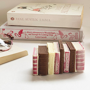 Miniature white and milk chocolate books