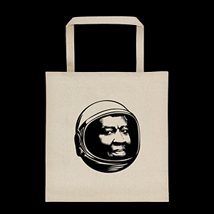 Tote bag with illustration of Octavia E. Butler wearing a space helmet