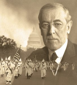 "The Ku Klux Klan marches in Washington, D.C., in 1926. Wilson spoke favorably of the Klan during his term (1913–1921), showed the film The Birth of a Nation in the White House, and opposed integration. <span class=""credit"">Photo composite: Library of Congress Prints and Photographs Division (Wilson, parade)</span>"