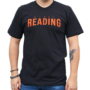 Black T-shirt with Binge Reading written in red in the style of Netflix logo