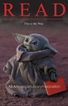 Baby Yoda holds a red book in READ poster