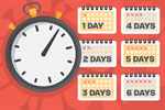 A clock next to calendars listing different numbers of days representing REALM test result quarantine periods
