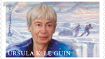 USPS stamp illustration of Ursula K. Le Guin