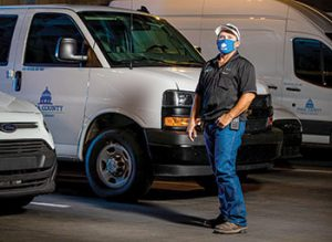 "Brandon Milligan, delivery manager at Pima County (Ariz.) Public Library, used the library's vehicles to distribute personal protective equipment and meals during the lockdown portion of the pandemic. <span class=""credit"">Photo: Randy Metcalf/Pima County (Ariz.) Communications </span>"