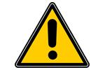 Yellow and black triangular caution sign