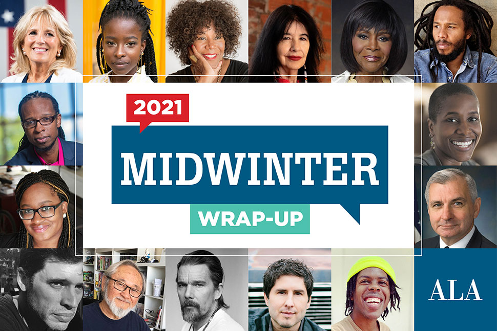 ALA Midwinter Virtual wrap-up (logo in center, surrounded by headshots of featured speakers)